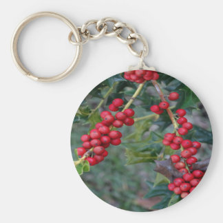 Holly Berry Basic Round Button Key Ring