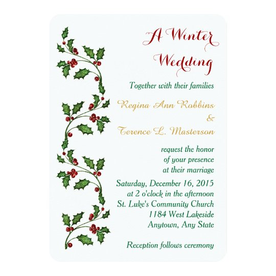 Holly Berry Border Winter Wedding White Card