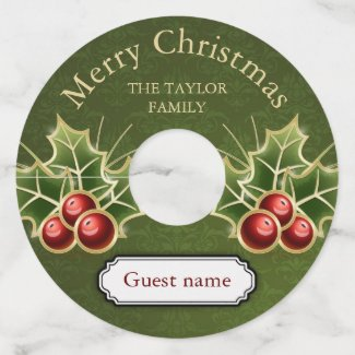 Holly Berry Christmas Personalized Green Damask Wine Glass Tag