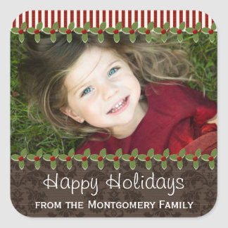 Holly Berry Christmas Photo Present Gift Labels Square Sticker