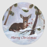Holly Berry Deer Christmas Round Sticker