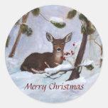 Holly Berry Deer Christmas Sticker