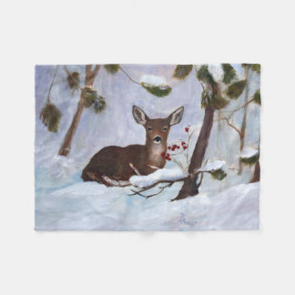 Holly Berry Deer Fleece Blanket