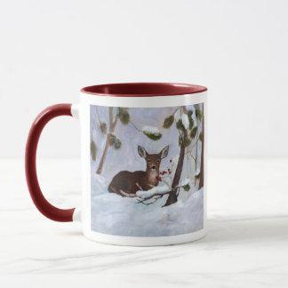 Holly Berry Deer Mug