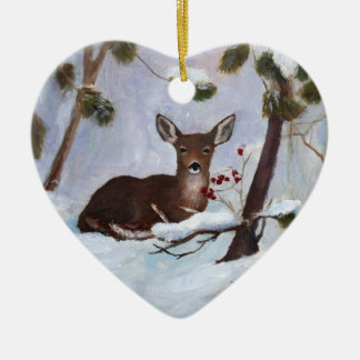 Holly Berry Deer Ornament