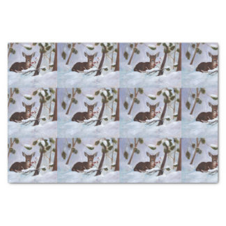 Holly Berry Deer Tissue Paper