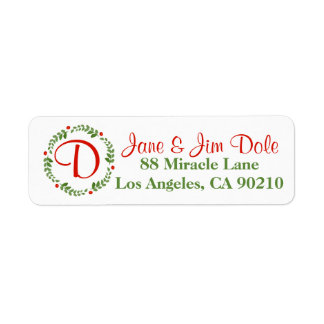 Holly Berry Mistletoe Wreath Christmas Holiday 1 Return Address Label