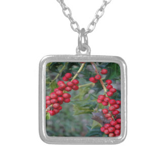 Holly Berry Square Pendant Necklace