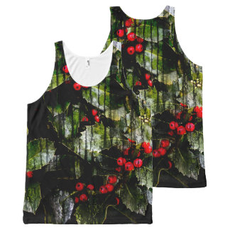 Holly Berry Unisex Tank All-Over Print Tank Top