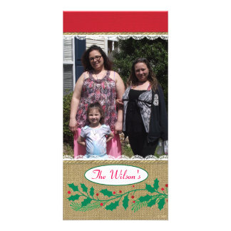 Holly Border Stripe Burlap Lace Photo Card