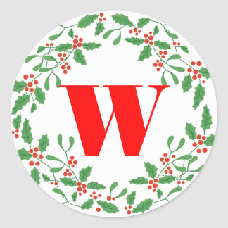 Holly Bough Wreath Monogram Gift Sticker