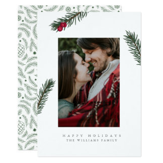 Holly Branches Christmas Photo Cards