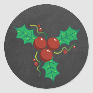Holly Chalkboard Christmas Classic Round Sticker