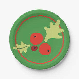 Holly Christmas Flora Paper Plates