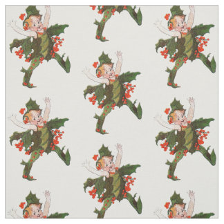 Holly Christmas Flower Child Cute Funny Floral Fabric