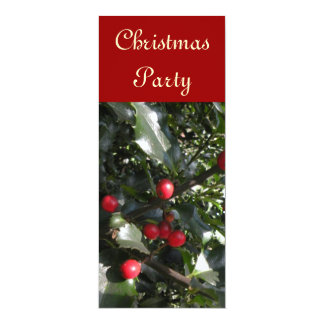 "Holly Christmas Party Invitation 4"" X 9.25"" Invitation Card"