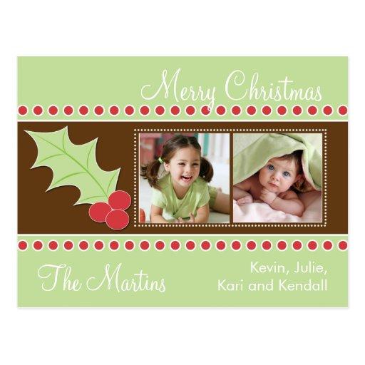 Holly Christmas Photo Card Postcard