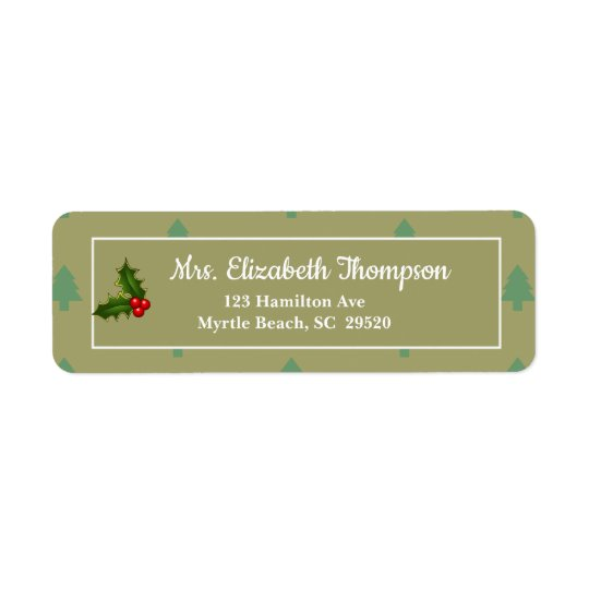 Holly Christmas Return Address Labels