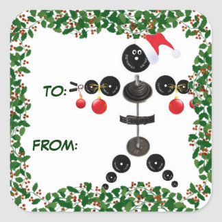 Holly Christmas Weightlifter Gift Tag Square Sticker