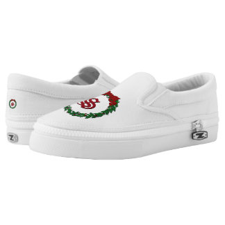 Holly Christmas Wreath Monogram Slip-On Shoes