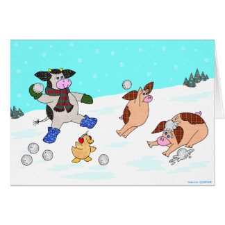 Holly Cow Let It Snow Greeting Card