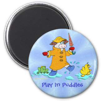 Holly Cow Play In Puddles Magnet