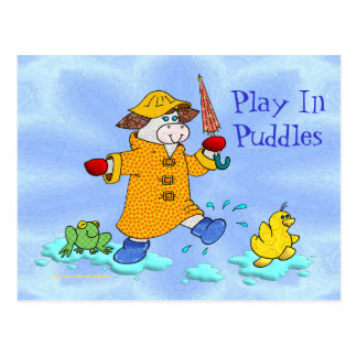 Holly Cow Play In Puddles Post Card