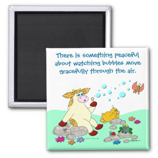 """Holly Cow """"Watching Bubbles"""" Square Magnet"""