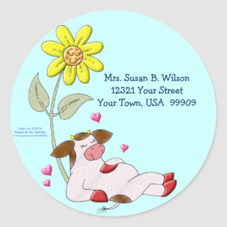 Holly Cow with Flower Round Sticker