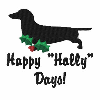 Holly Dachshund Embroidered Shirt (Zip Hoodie)
