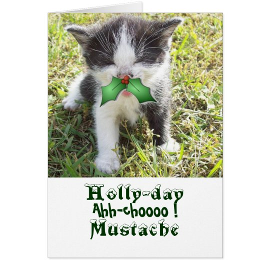 Holly-day Moustache Card