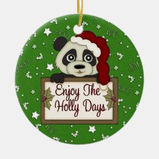 Holly Day Panda Bear ornament