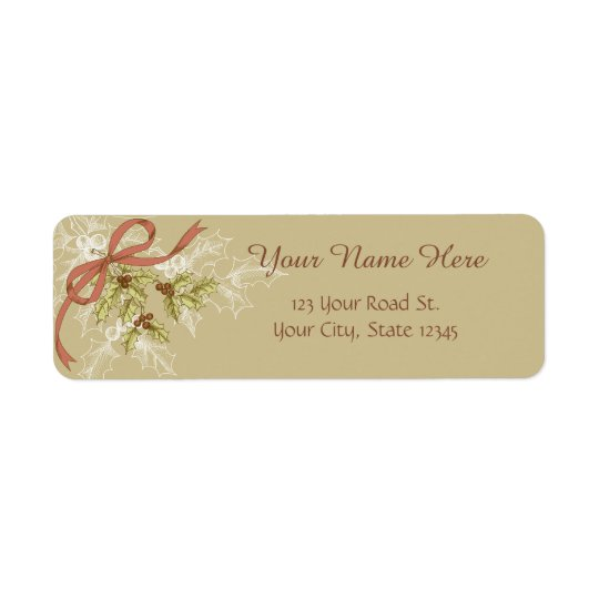 Holly-Day Sketch Holly Berries and Leaves Return Address Label