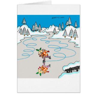 Holly Deer skating Xmas card