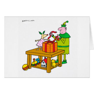 Holly Deer with elf Xmas card