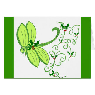 Holly dragonfly Christmas Card