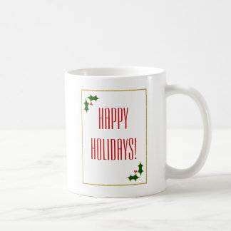 Holly Faux Gold Glitter Christmas Typography Coffee Mug