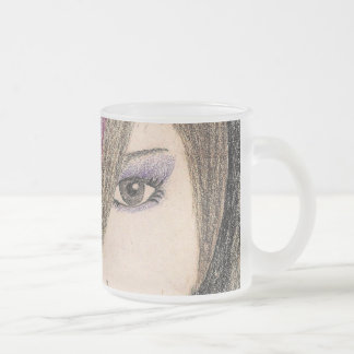 holly frosted glass coffee mug