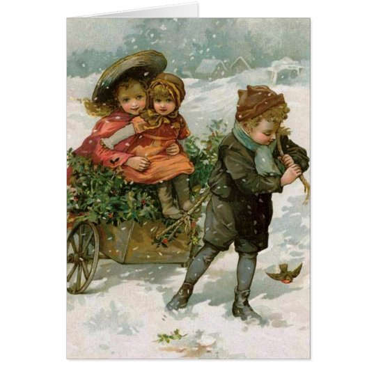 Holly Gathering - a Victorian Christmas card