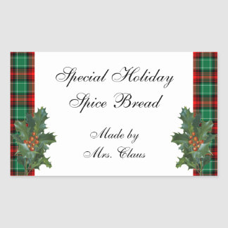 Holly Green Red Plaid Holiday Recipe Sticker