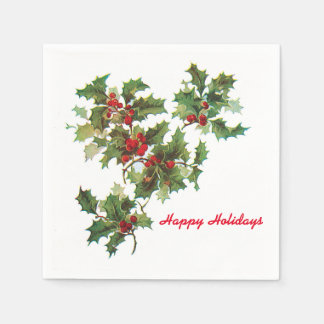 Holly Happy Holidays Cocktail Paper Napkin