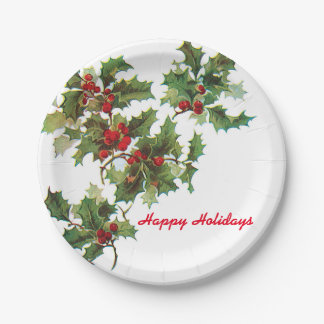 Holly Happy Holidays Plate