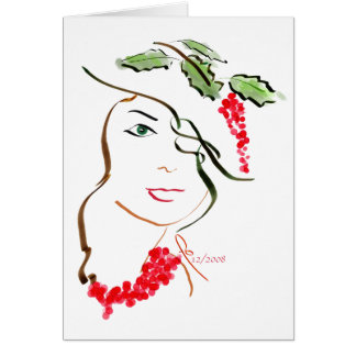 holly hat greeting card