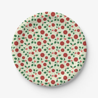 Holly Holiday paper plates