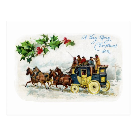 Holly, Horses and Stagecoach Postcard