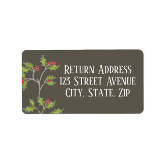 Holly in Brown Holiday Mailing Label in grey