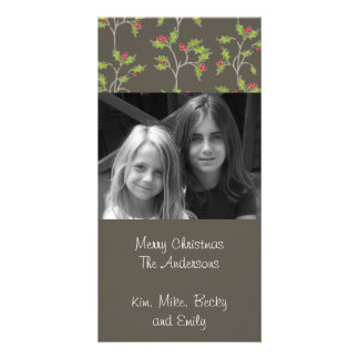 Holly in Brown Holiday Photo Card in grey