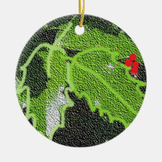 Holly in Relief Ornament