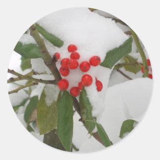 Holly in Snow Round Sticker