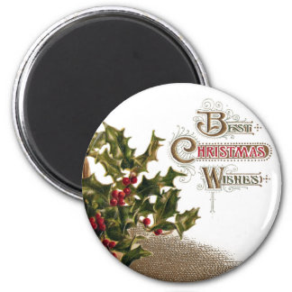 Holly in Wicker Basket Vintage Christmas 6 Cm Round Magnet